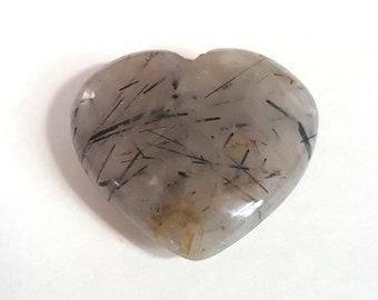 23.85 Cts Natural Black Rutile Quartz Cabochons Gemstone for Jewelry making 24x17x7 MM