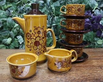 4 Vintage Denby Ode Coffee Cups & Saucers1970's Antique
