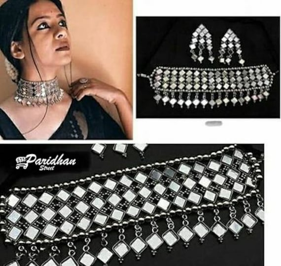 Festive Wear Jewelry Set Indian Oxidized Necklace Set With Dangler For Bridesmaid Wedding Beautiful Oxidized Silver Mirror Choker Set