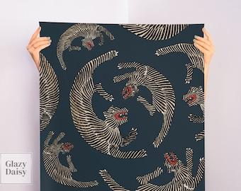 Japanese vintage woodblock print of tigers from Yatsuo no tsubaki by Taguchi Tomoki #80   wallpaper, removable, traditional, vinyl, navy