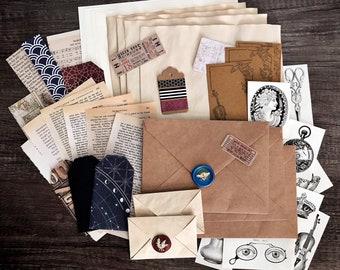 Dark Academia Light Academia Stationery Set Stationery Pack for Journaling Penpal Letter Writing Bullet Journal, Washi, Vintage Paper