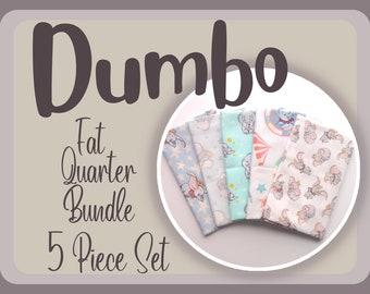 Dumbo Fabric ~ Fat Quarter Bundle, 5 Piece Set, 100% Cotton Fabric, 18x21 each
