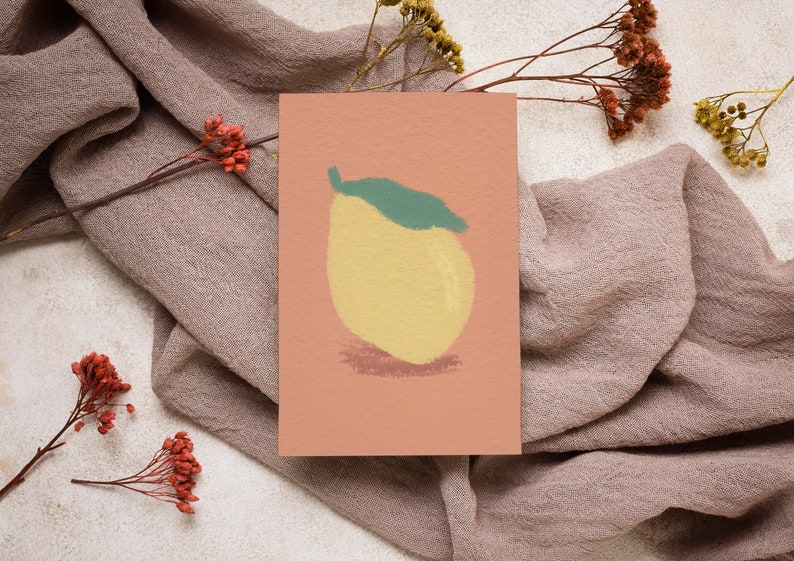 Olive Lime /& Orange Lemon Watercolour Pastel Giclee Pack Set of 4 Cards Rustic Tuscany Notecard
