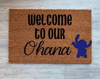 Welcome to Our Ohana Coir Door Mat