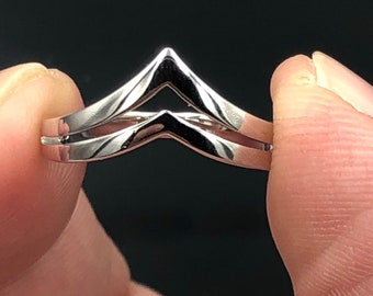 925 Sterling Silver V ring,Adjustable ring,gift,cubic zirconia,zircon silver ring,statement ring,promise ring,double  band,geometric ring