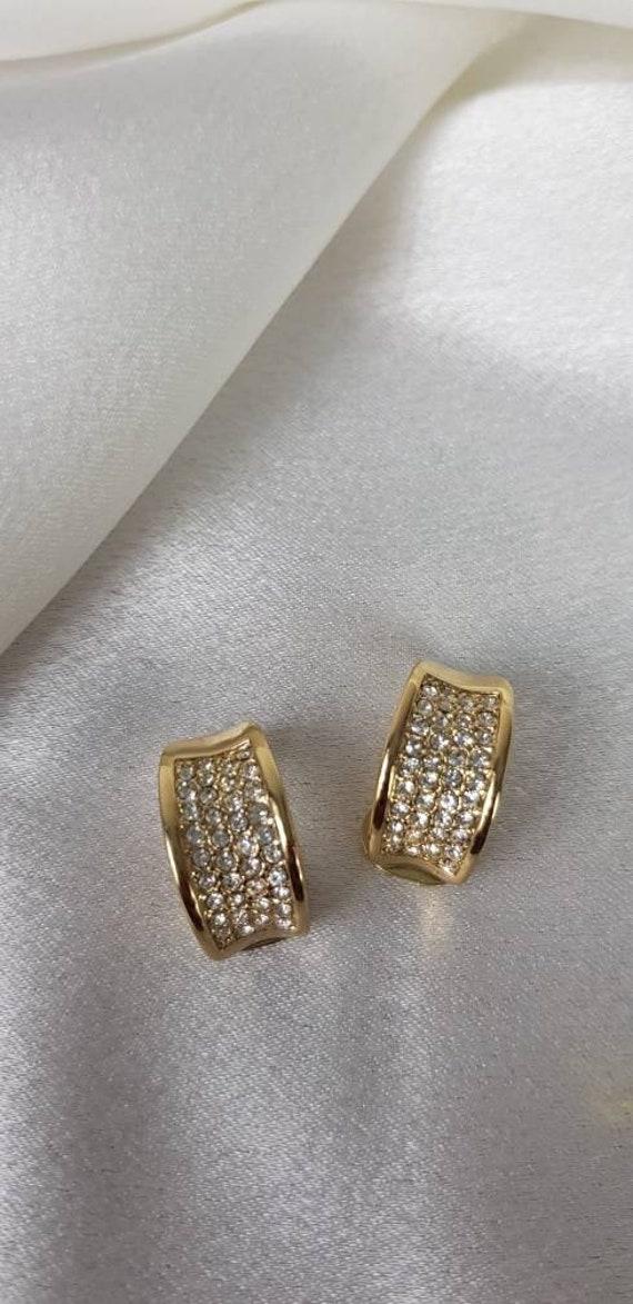Vintage Crystal Half Hoop Earrings