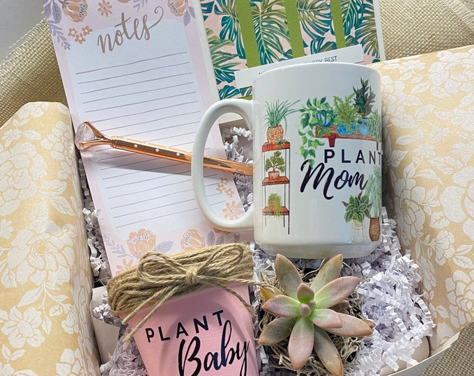 Featured listing image: Plant Gift Box, Plant Gift Set, Gift Set Succulent, Coffee Mug Plant Gift Set, Plant Mom, Custom Gift Box, Mother's Day Gift, Mom gift