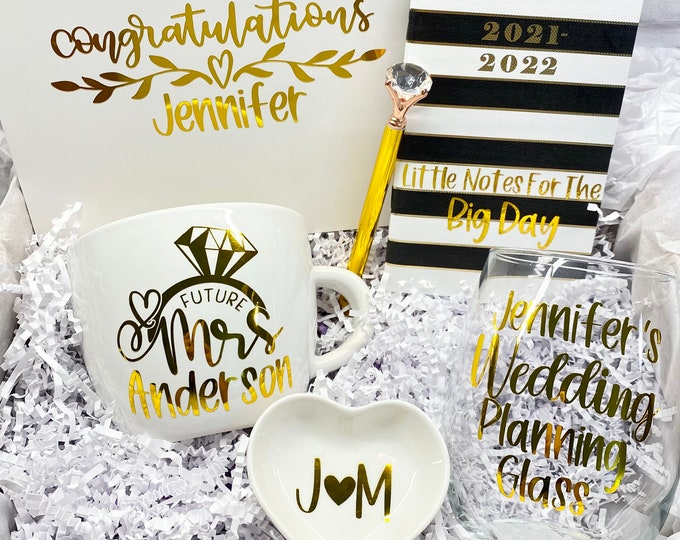 Featured listing image: Bride Gift Box, Custom Bride Gift, Future Mrs Gift, Bride Gift, Engagement gift, Bride, Mrs mug, wedding planning glass, bride to be