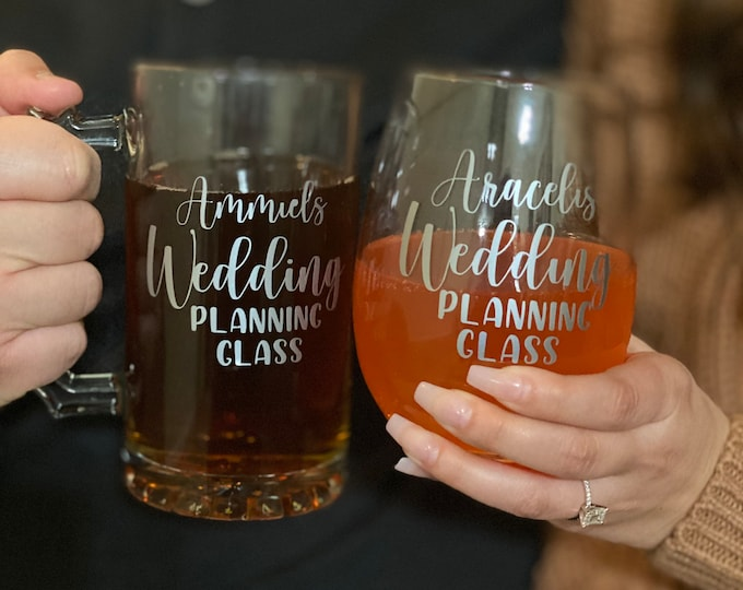 Featured listing image: Wedding Planning Glass Set, Bride and Groom Wedding Planning Glass set, Mix and Match wedding planning glass, engagement gifts