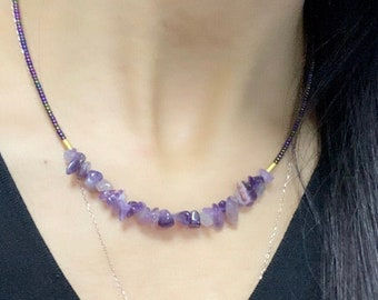 Trendy Statement Boho Necklace Gemstone Choker Uncut Chips Rope Style Necklace Elegant Necklace Gift For Lover RAW AMETHYST NECKLACE