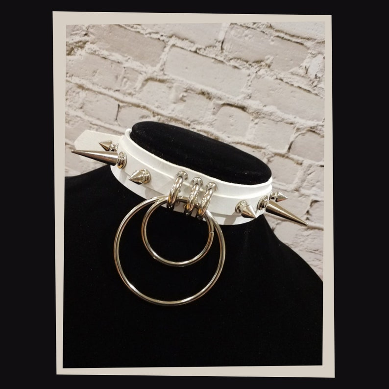 3 color choices white and pink. black Gothic choker punk  vegan leather kawaii with double O-Ring and silver spikes
