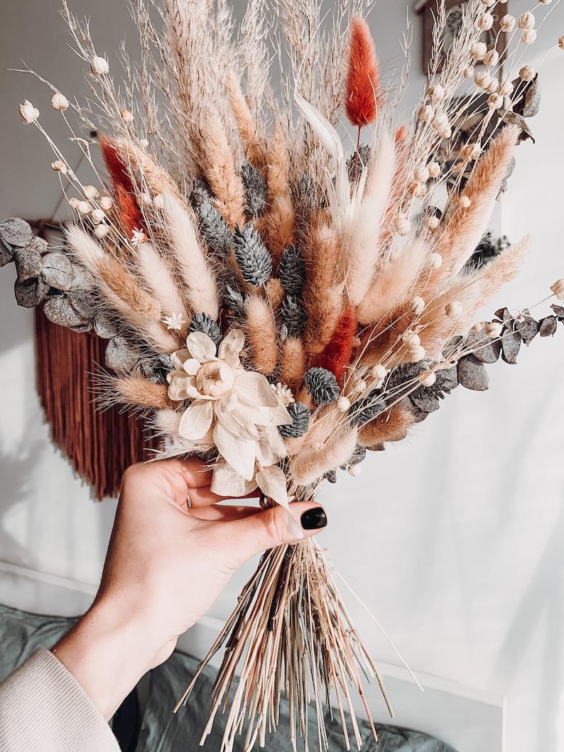 Boho handmade rustic wedding bundle bunch dried wildflowers bouquet warm colors home decor custom size bundle