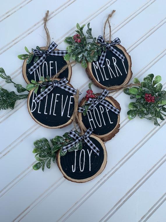Wooden Farmhouse Christmas Words Ornament Set Buffalo Plaid Etsy