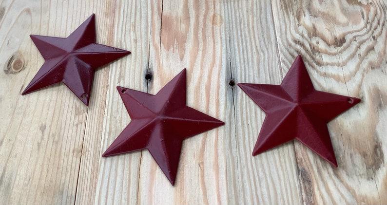 Barn Stars- Western Decor 2.25 x 2.25\u201d Primitive Metal Stars 3 Craft Stars Maroon Stars- Burgundy Stars Rustic-Country Farmhouse