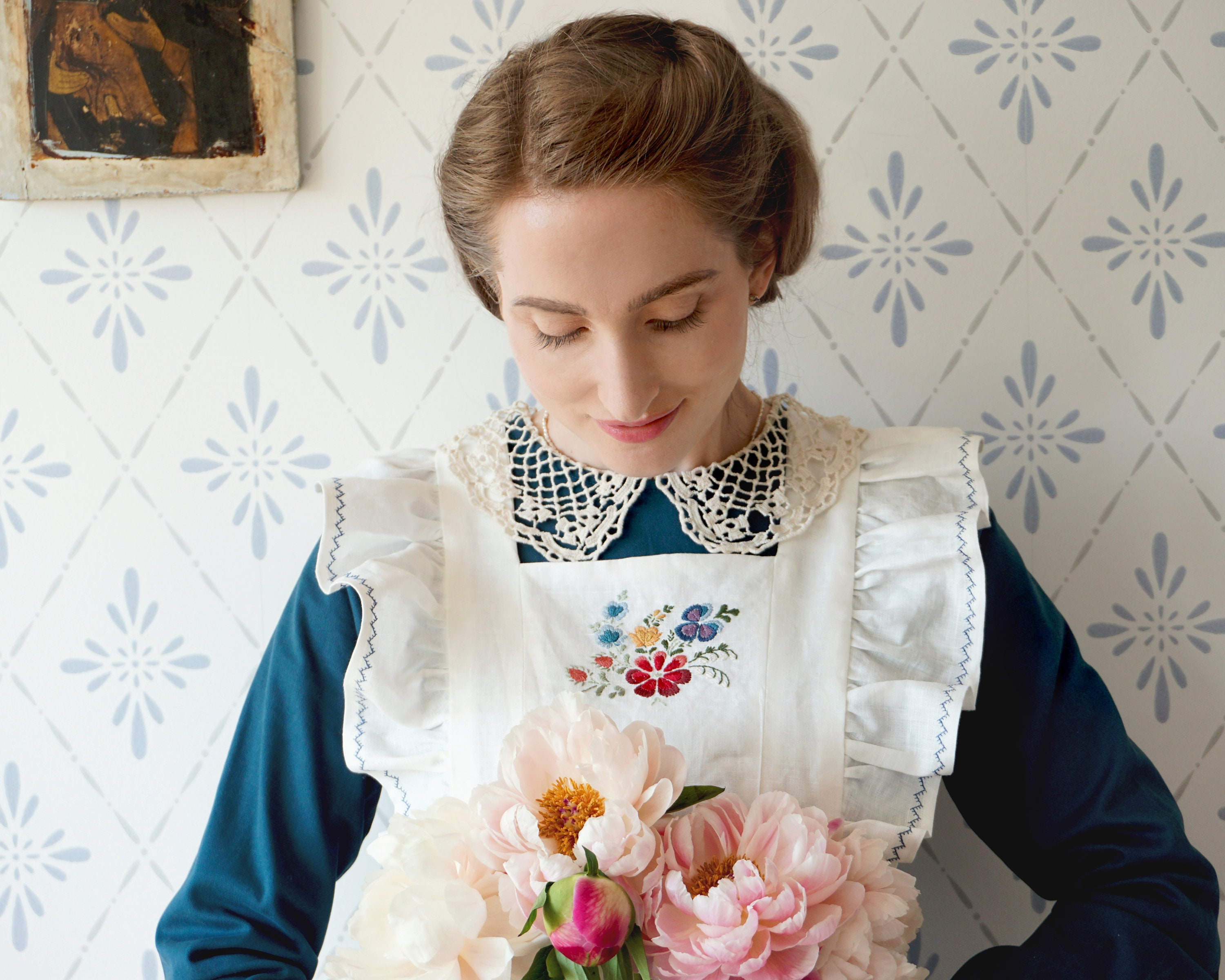 Vintage Aprons, Retro Aprons, Old Fashioned Aprons & Patterns Swedish Grace - Handmade Apron With Embroidery. Victorian Cottagecore Folklore Pinafore. Plus Size. Made in Sweden $250.60 AT vintagedancer.com