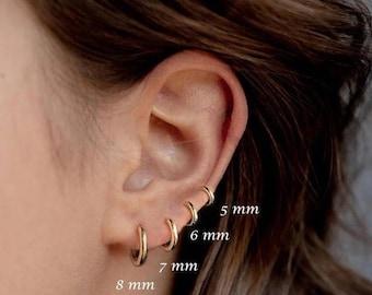 Dainty Gold Hoop Earrings, Small Hoop Earrings, Huggie, Zirconia Minimal Hoop Earrings, Dainty Sterling Silver Hoop Earrings, Helix