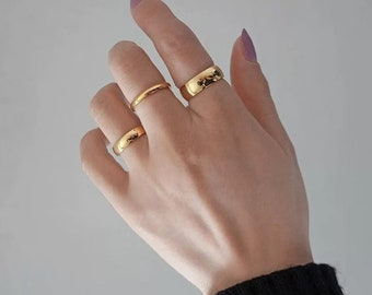 18K Gold Plated Bold Ring,Gold Band Ring,Gold Stacking Ring,Gold Band for Man,Thick Ring,Thin Ring,Simple Gold Ring,Couple Ring,Couple Band