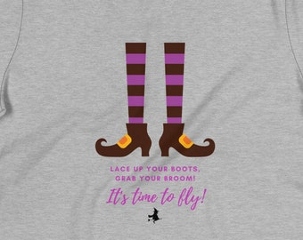 It's Time to Fly, Halloween, Short Sleeve, Witch, Boots, Comfortable, Women's Relaxed Fit