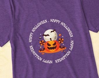 Happy Halloween, Pumpkin, Moon, Bats, Unisex, Short sleeve, t-shirt, Tri-blend, Vintage, Fall