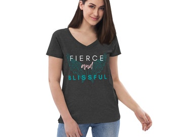 Fierce and Blissful, Women's, Recycled, V-neck, Short Sleeve, Angel Wings, Comfortable