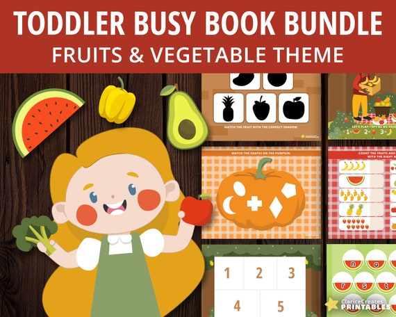 Toddler Busy Book Bundle  Fruits and Vegetables Theme