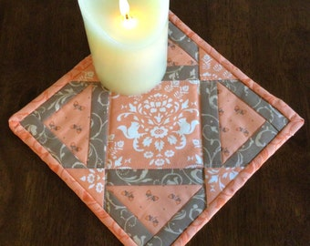 Quilted Fall decor reversible mug rug or candle mat.