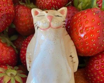 Handcrafted Lazy Kitten Ceramic figurine/ White cat statue/ White kitten/ sleeping cat figurine/ gift for cat fan/ ceramic sleeping kitten