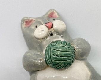 Fat cat ceramic figurine/ handcrafted ceramics/ handmade ceramic cat statue/ funny Fat cat sculpture/ pottery cat figurine