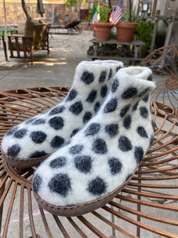 Felted Wool Slippers wsuede sole White Polka Dots Ankle Boot