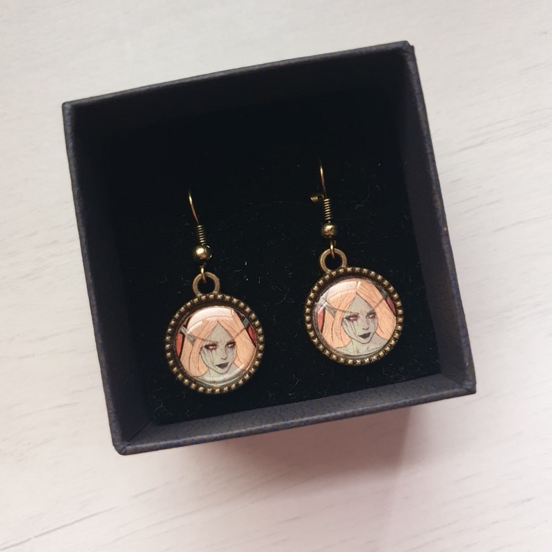 3. World of Warcraft character Antique bronze earrings - Art Nouveau style