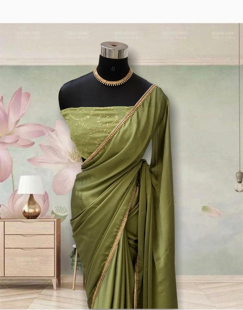 Satin georgette saree with designer blouse