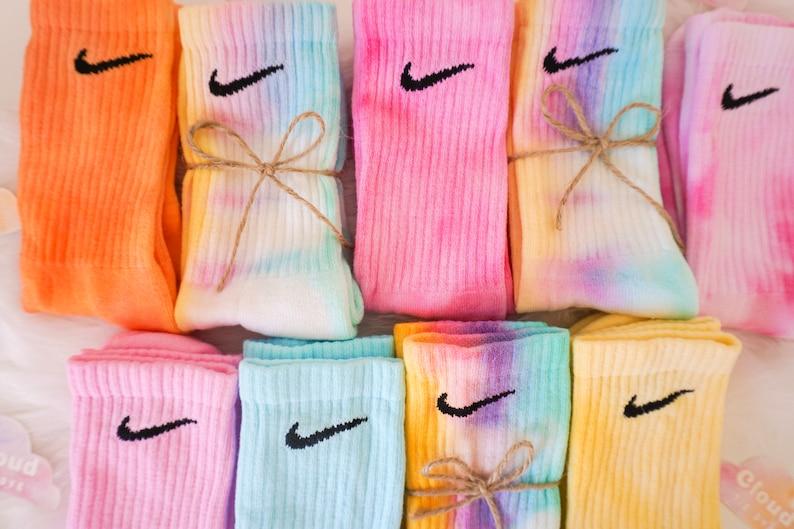 Tie Dye NIKE Socks  Pastel Tie Dye Rainbow Pink Blue image 0
