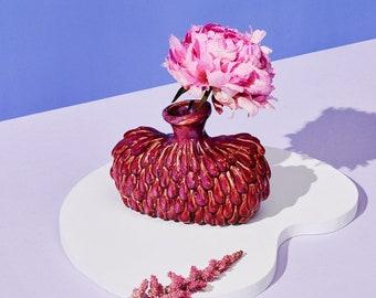 Honey Dijon Creator Collab - Evomo Vase, Handmade Deep Red / Purple Ceramic Vase, Statement Vessel for Real and Artificial Flowers