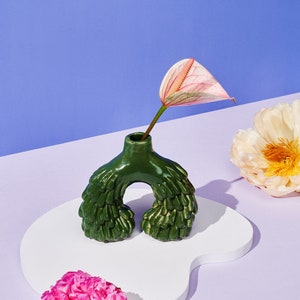 Honey Dijon Creator Collab - Flora Vase, Handmade Forest Green Ceramic Vase, Statement Ornament and Vessel for Real and Artificial Flowers