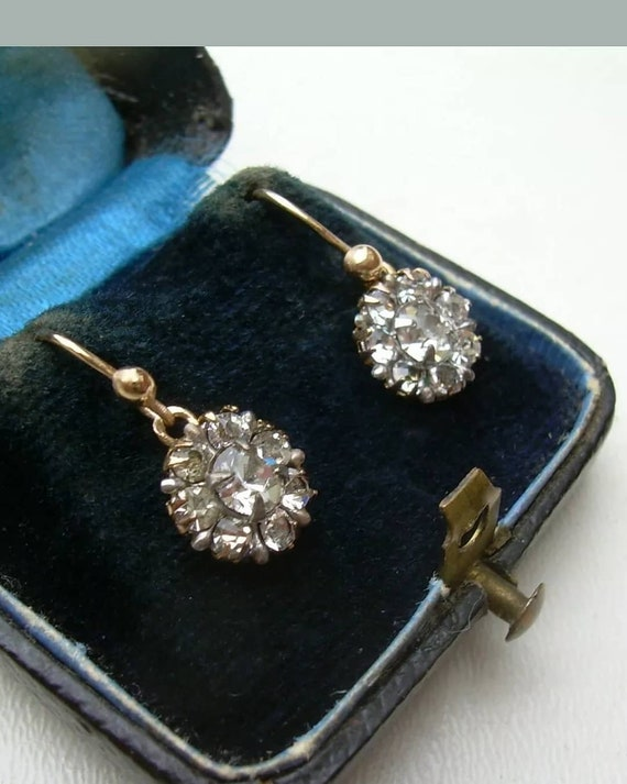 Antique Edwardian Paste Drop Earrings