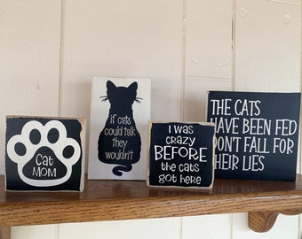 Wooden Sign Plaque Cat Retro Funny Novelty Humorous Cat/'s Rules 30cm