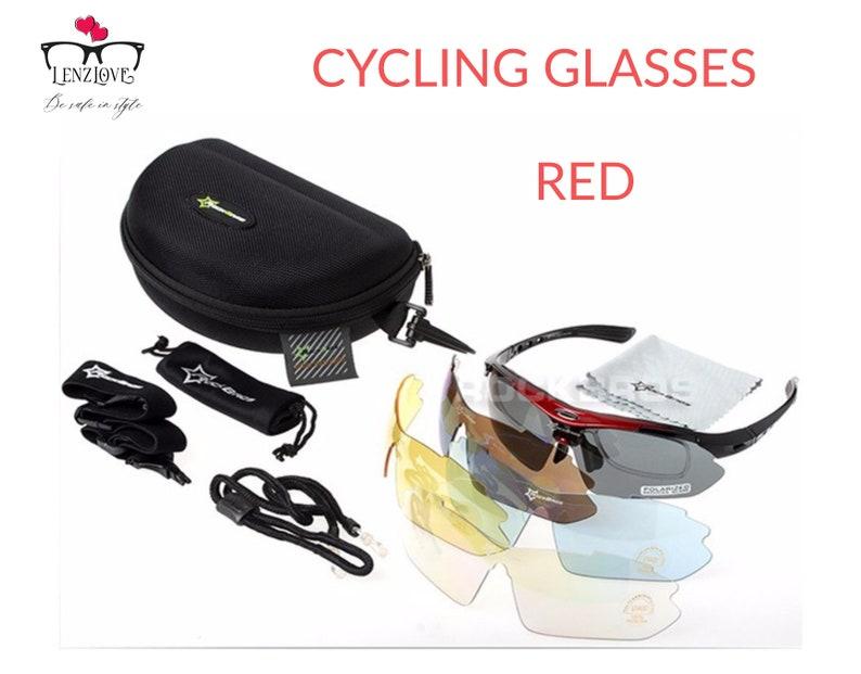Polarized Cycling Glasses with 5 Interchangeable Lenses Bike Glasses Eyewear UV400 Proof Outdoor Sport Sunglasses Men Women