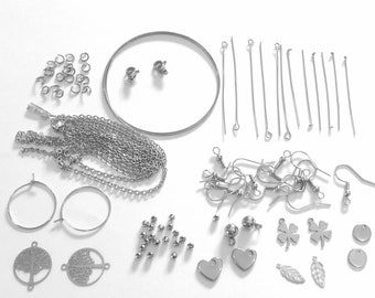 Creative Creation Kit Making Jewelry ACIER INOXIDED 15 Items Different Earrings Diy Necklaces