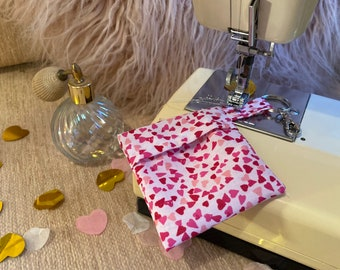 Handmade valentines fitted mask and keyring pouch set
