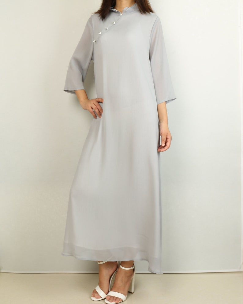 cheongsam dress half sleeves maxi dress Pleated chiffon dress Q2024 casual loose dress plus size oversize clothing