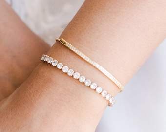 Bridal Jewelry Set Hundred Hearts Tennis Bracelet and Earring Wedding Simple Bridesmaid Jewelry 18K Rose Gold