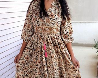 Hand Block Printed Dress, Block Print Dress, Indian Tunics, Hand Printed Dress, Indian Cotton Long Gown, Indian Cotton Dress, Printed Dress