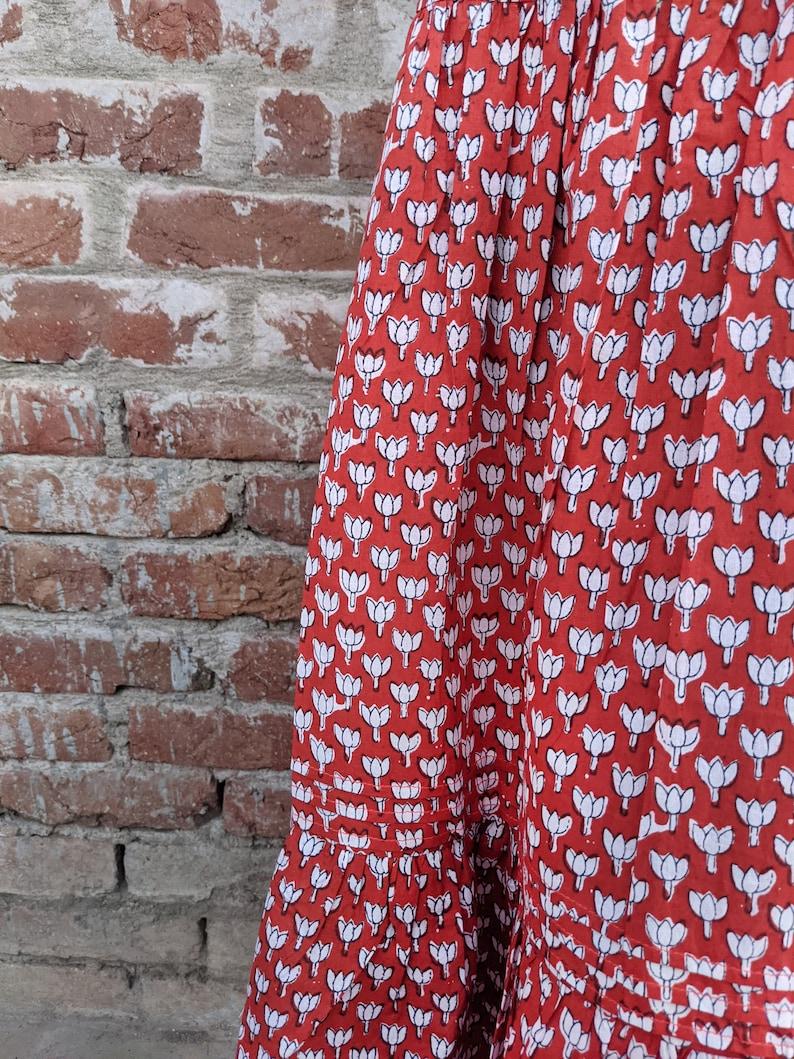 gypsy style boho chic long red skirt Hand-Block Print 100/% Cotton Long Boho Skirt for Women Pleated Ruffled Cotton Skirt ibiza skirt