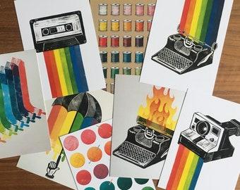 Rainbow Votive Postcard Individual