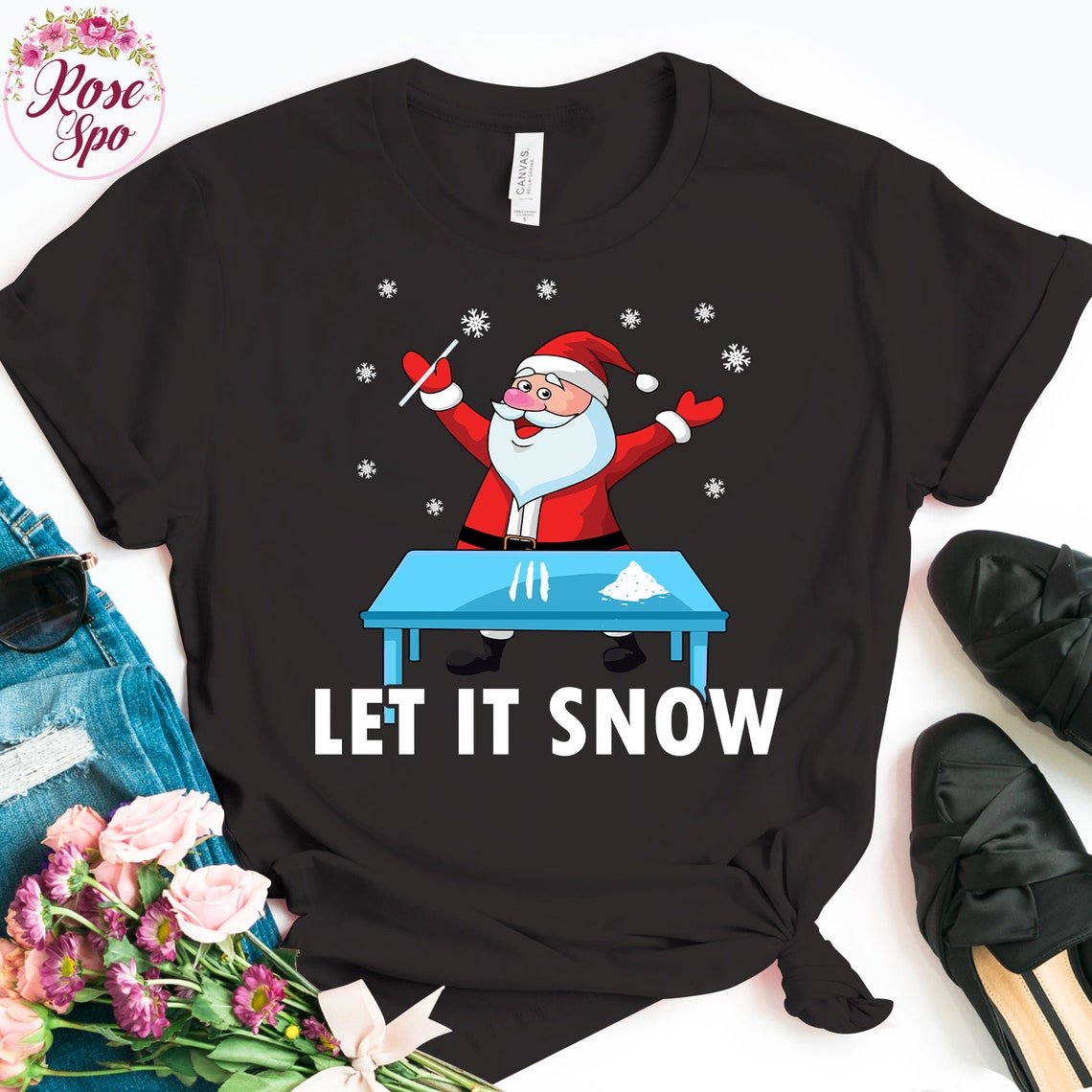 Santa Cocaine Let It Snow Christmas Sweater Gifts T-Shirt image 0