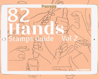 82 Hands  Stamps Guide , Procreate Portrait Guide, Procreate Portrait Brushes, Help Drawing Portrait -Procreate Bestseller Brushes