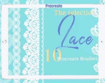 Selection of 10 Brushes-Procreate Lace Brushes Seamless- Procreate Stamps - Fashion illustration - Fashion Design- -Textile - lace border