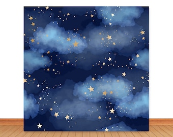 New Dark Blue Sky Cloud Photo Studio Backdrop Props Boy Birthday Prince Baby Shower Gold Star Party Decorations Twinkle Twinkle Little Stars Photography Background Banner 7x5ft