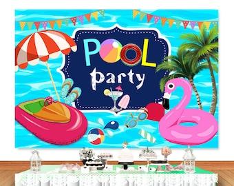 Digital File Pool Back drop Personalized Pool  Back drop Happy Birthday Backdrop