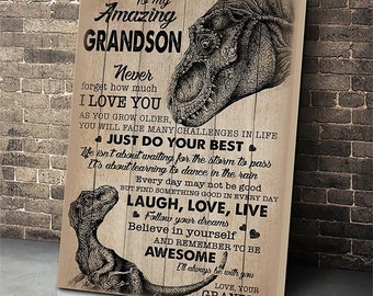 Dinosaur Grandpa To My Amazing Grandson Canvas With Framed Poster no Framed